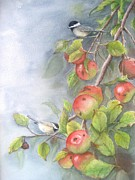 Autumn Art Prints - Harvest Chickadees Print by Patricia Pushaw