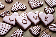 Frosting Prints - Heart cookies Print by Kati Molin