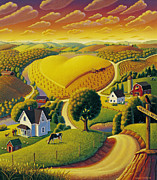 Farm Fields Paintings - Heartland  by Robin Moline