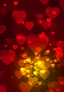 Bokeh Photo Posters - Hearts Background Poster by Carlos Caetano