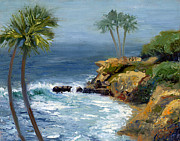 Laguna Beach Painting Metal Prints - Heisler Park Metal Print by Alice Leggett