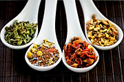 Spoons Photos - Herbal teas by Elena Elisseeva