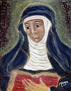 Religious Art Mixed Media Prints - Hildegard Von Bingen Print by Maya Telford