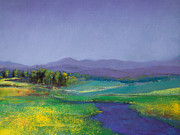 River Pastels Prints - Hills in Bloom Print by David Patterson