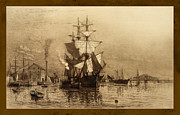 Historic Ship Posters - Historic Seaport Schooner Poster by John Stephens