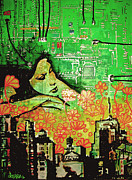 Cityscape Mixed Media Originals - Hive Mind 2.0 by dreXeL