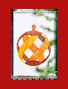 Woodworking Art Framed Prints - Holiday Weave Pattern Art Ornament in Green Framed Print by Jo Ann Tomaselli