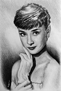 Shoulders Drawings Posters - Hollywood Greats Hepburn Poster by Andrew Read