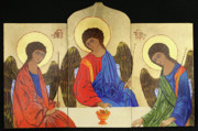 Orthodox Icons Paintings - Holy Trinity by Amy Reisland-Speer