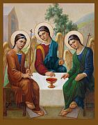 Catholic Icon Painting Framed Prints - Holy Trinity Framed Print by Svitozar Nenyuk