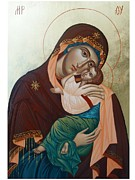 Orthodox Painting Framed Prints - Holy Virgin Of Tenderness Framed Print by Janeta Todorova