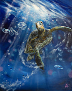 Sea Turtle Paintings - Honus Dance by Marco Antonio Aguilar