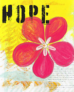 Bold Mixed Media Posters - Hope Poster by Linda Woods