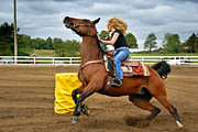 Racing Photos - Horse and Rider in Barrel Race by Amy Cicconi
