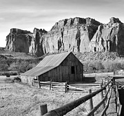 Split Rail Fence Metal Prints - Horse Barn in Fruita Utah Metal Print by Jack Schultz