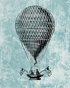 Old Drawings Prints - Hot Air Balloon - Retro Design Print by World Art Prints And Designs