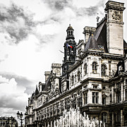 Historical Buildings Posters - Hotel de Ville in Paris Poster by Elena Elisseeva