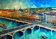 Reflections Of Sky In Water Painting Posters - Hotel Dieu De Lyon Poster by EMONA Art