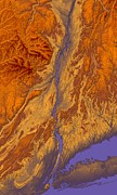 Geography Digital Art - Hudson River Valley Map Art by Paul Hein