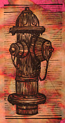 Block Print Drawings - Hydrant by William Cauthern