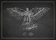 Icarus Flying Machine Patent Drawing Front View Print by Aged Pixel