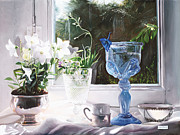 Interior Still Life Paintings - Il Calice Blu by Danka Weitzen