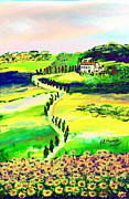 Country Road Mixed Media Prints - Il casale Print by Loredana Messina