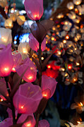 Fototrav Print Prints - Illuminated Silk flowers in Bangkok Thailand Print by Fototrav Print