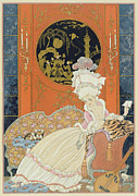 Love Letter Painting Prints - Illustration for Fetes Galantes Print by Georges Barbier