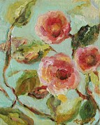 Patterned Mixed Media Prints - Impressionist Floral Painting Print by Mary Wolf