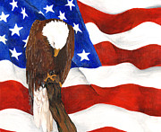 American Eagle Paintings - In Honor of the Fallen by Terri Prall