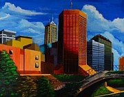 Downtown Digital Art Originals - Indianapolis Cityscape by P Dwain Morris