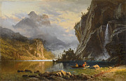 Famous Artists - Indians Spear Fishing by Albert Bierstadt