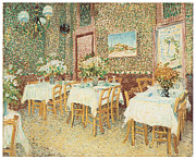Dinner Paintings - Interior of a Restaurant by Vincent Van Gogh