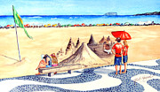 Sand Castles Painting Metal Prints - Ipanema-Sand Castles Metal Print by Ruth Bodycott
