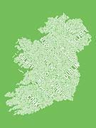 Ireland Eire City Text Map Print by Michael Tompsett