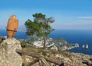 Mediterranean Landscape Posters - Island Capri view from the highest point Monte Solaro Poster by Kiril Stanchev