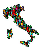 Typography Map Digital Art - Italy map by Mark Ashkenazi