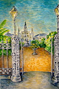 Grillwork Prints - Jackson Square- Early Morning Print by Joan Landry