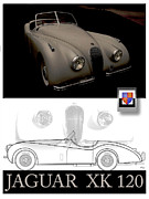 Curt Johnson Metal Prints - Jaguar XK 120 Layout Metal Print by Curt Johnson