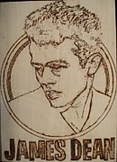 Icon Pyrography Metal Prints - James Dean Metal Print by Sean Connolly