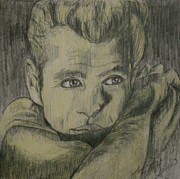 Movie Icon Drawings Posters - James Dew Dean Poster by Linda Simon