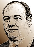 Fame Mixed Media Prints - James Gandolfini in 2007 Print by J McCombie