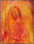 Hall Painting Prints - Janis Joplin On Fire Print by Judy Joy Jones