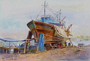 Arabia Painting Framed Prints - Jeddah Boat Yard Framed Print by Dorothy Boyer