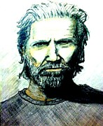 Jeff Drawings - Jeff bridges by Larry Lamb