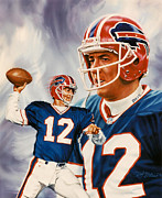Quarterbacks Paintings - Jim Kelly by Dick Bobnick