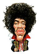 Caricatures Painting Prints - Jimi Hendrix Print by Art
