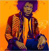 Jimi Hendrix Drawings - Jimi Hendrix by Craig Carl