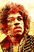 Unique Art Prints - Jimi Hendrix Print by Juan Jose Espinoza